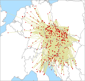 Mapa QSO dla 144 MHz
