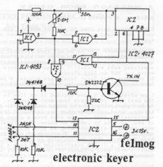Elektronický kľúčovač (keyer) s použitím iba 14-stich súčiastok