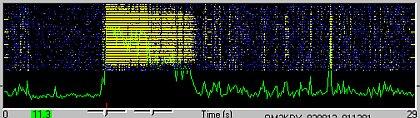 Screenshot z obrazovky WSJT s mohutným odrazom DJ9YE