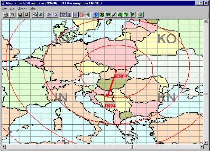 Mapa znázorňujúca QSO z KN09 do JN94. Pohyb kurzora vyvoláva krátku informáciu o QRB z vlastného lokátora.