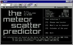 Screenshot programu The Meteor Scatter Predictor