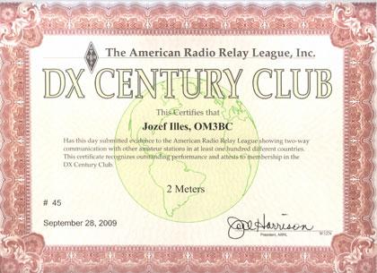 OM3BC DXCC diplom