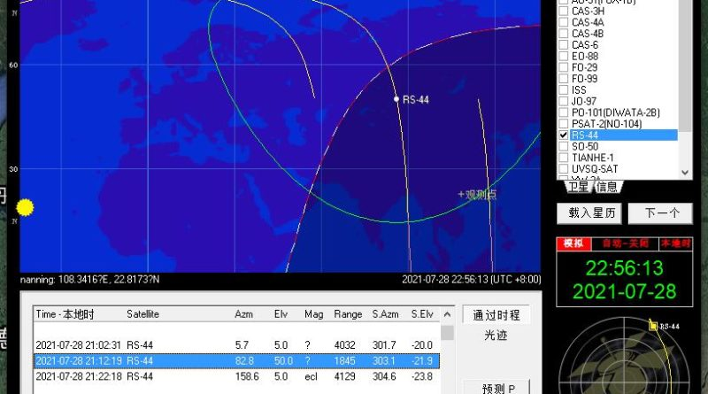 Orbitron s RS-44 satelitom
