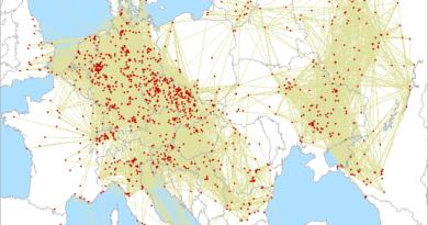 Mapa spojení v 3.subregionále 2021 na 432 MHz